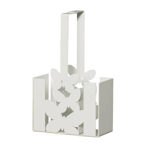 Porta posate Butterfly in metallo, 15x8Px25h, colore Bianco Neve