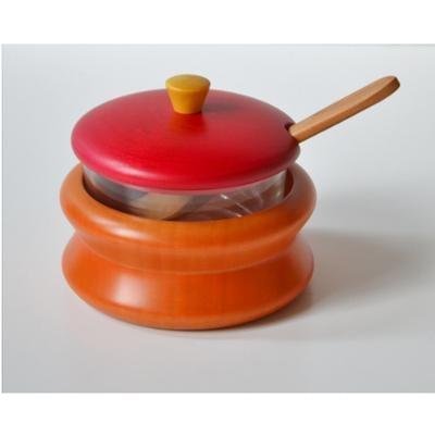 Formaggera in legno massello Ø 11xh 10 cm in legno massello di tiglio , interno in vetro combinazione Arancio rosso giallo
