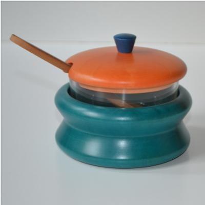 Formaggera in legno massello Ø 11xh 10 cm in legno massello di tiglio , interno in vetro combinazione Azzurro arancio azzurro