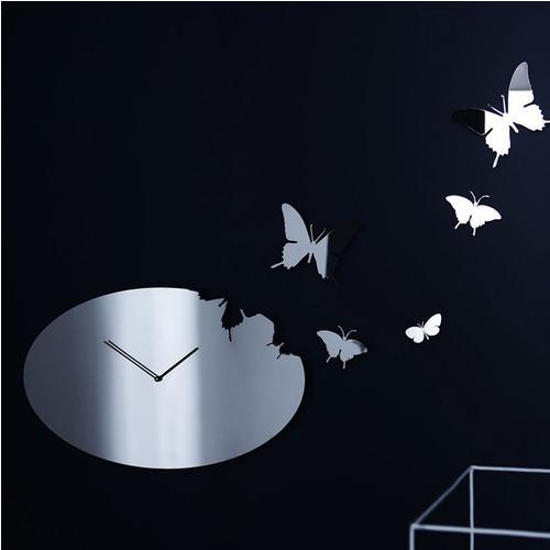 Orologio da muro butterfly ovale diametro 60x37 cm in for Orologio da muro farfalle