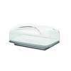 Copriformaggio Rettangolare 25.5x18xh11.5 cm Gocce vassoio tagliere in porcellana bianca Grigio Cielo