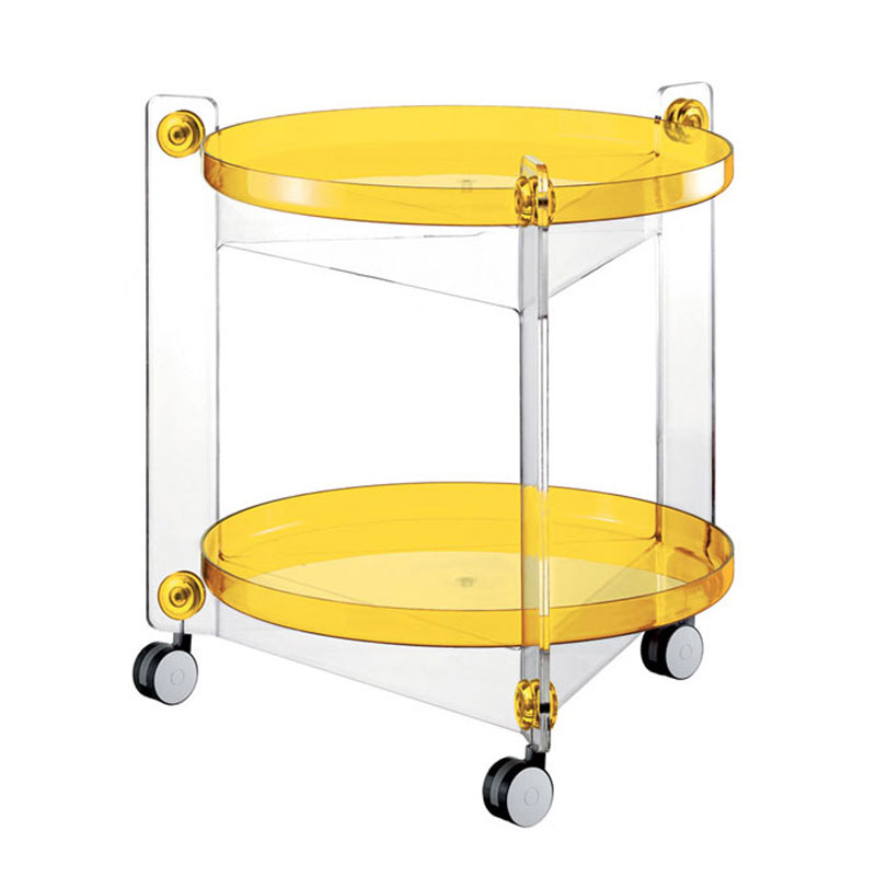 Carrello portavivande diametro 66xh63 5 cm massoni con ruote guzzini giallo guzzini stilcasa - Carrelli porta vivande ...