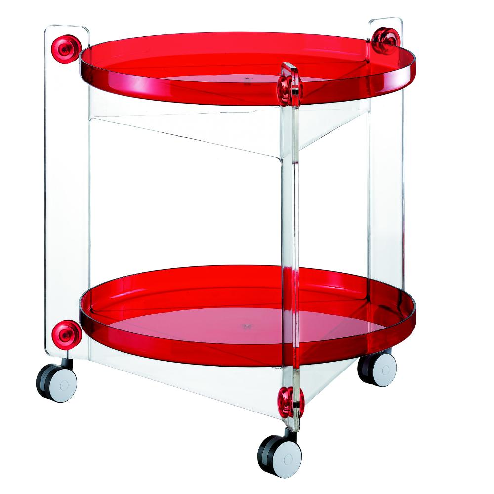 Carrello portavivande diametro 66xh63 5 cm massoni con ruote guzzini rosso guzzini stilcasa - Carrelli porta vivande ...