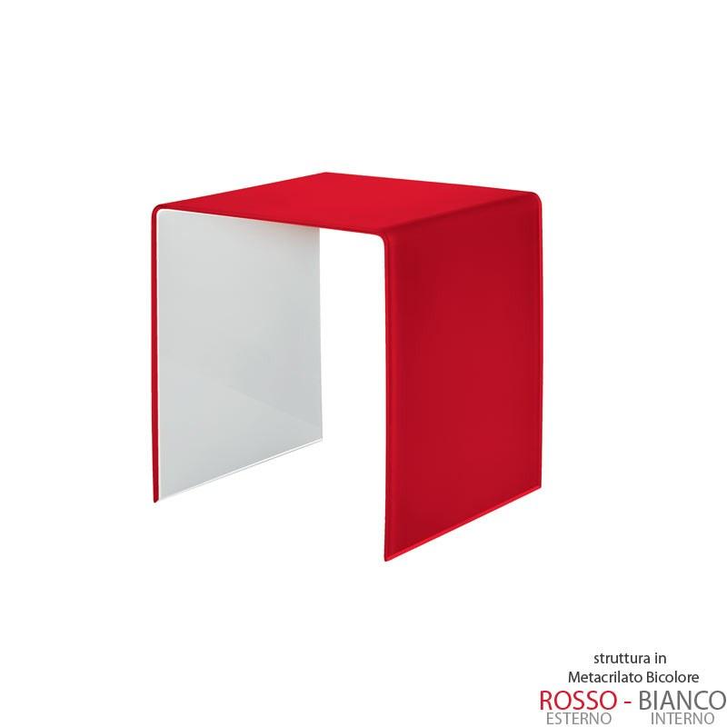 Tavolino Salotto Rosso.Tavolino Piccolo 40x40xh40 Cm Casa Guzzini In Metacrilato Bicolore Alto Spessore Design Carlo Colombo Rosso Trasparente Guzzini