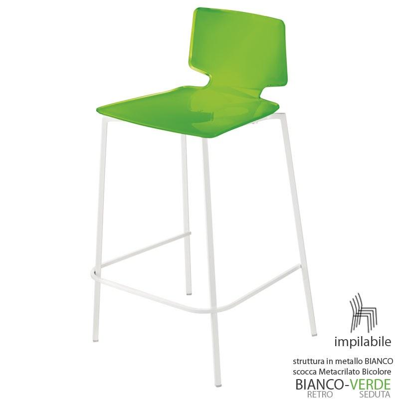 Sgabelli Verde Acido.Sgabello 50x45xh88 Cm Guzzini My Chair Struttura In Acciaio Seduta Alt 67 Cm Verde Acido Opaco Guzzini