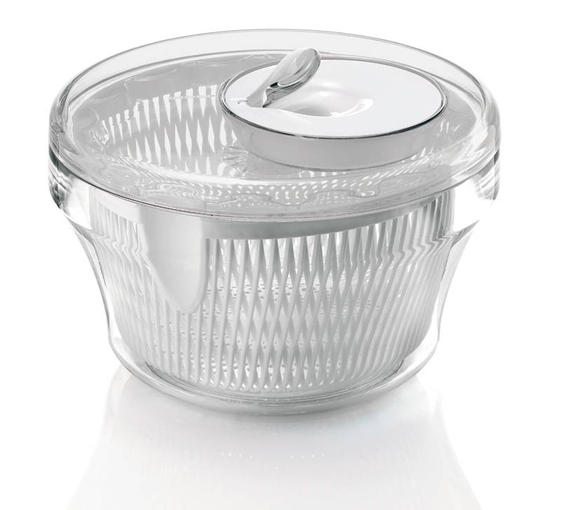 Diametro 24 cm Poliestere Bianco Rosso Quttin S2201772 Centrifuga per insalata 3 L