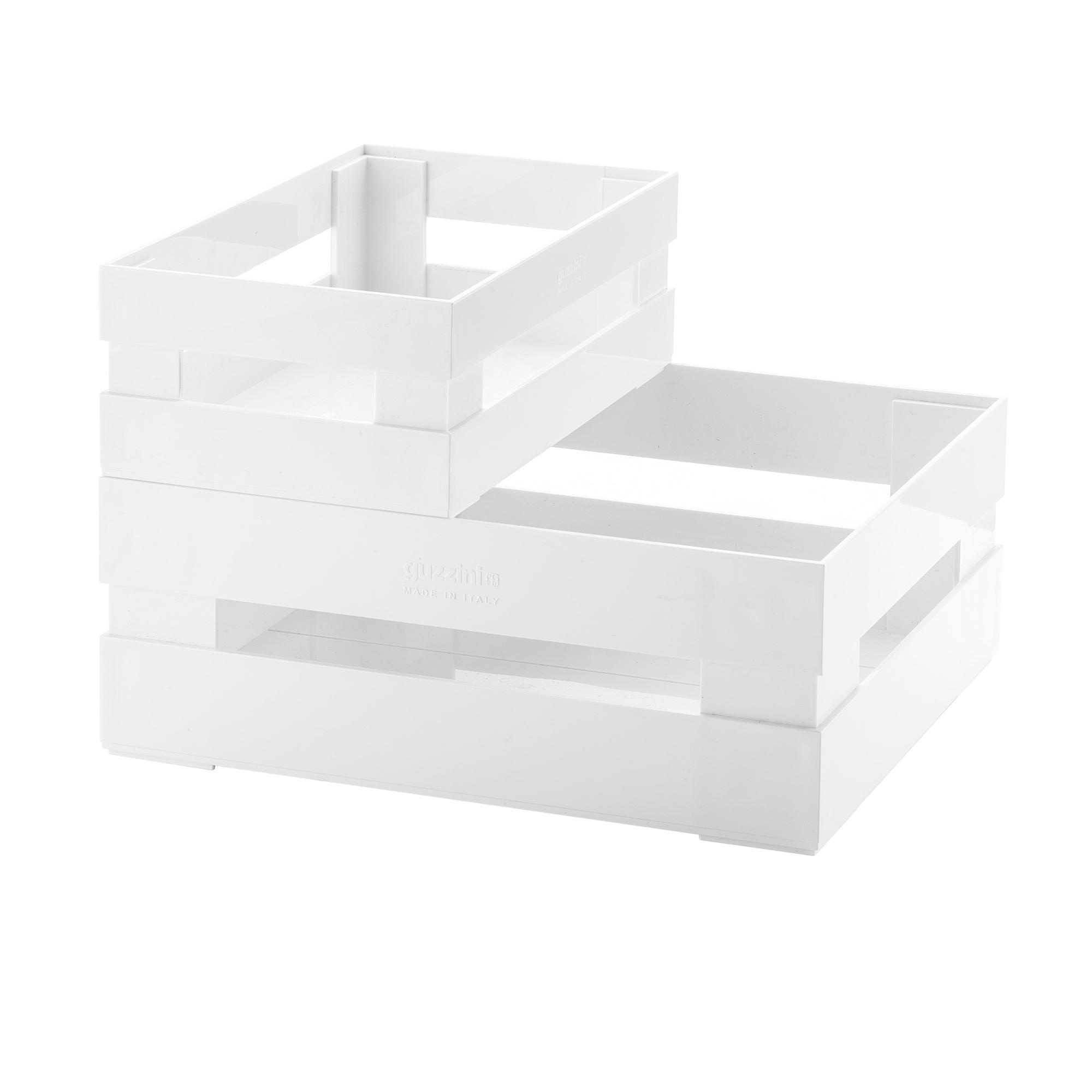 Set 2 Cassette Grande e piccola portafrutta , portatutto 30,5x22,5xh19,5 cm impilabile in acrilico bianco