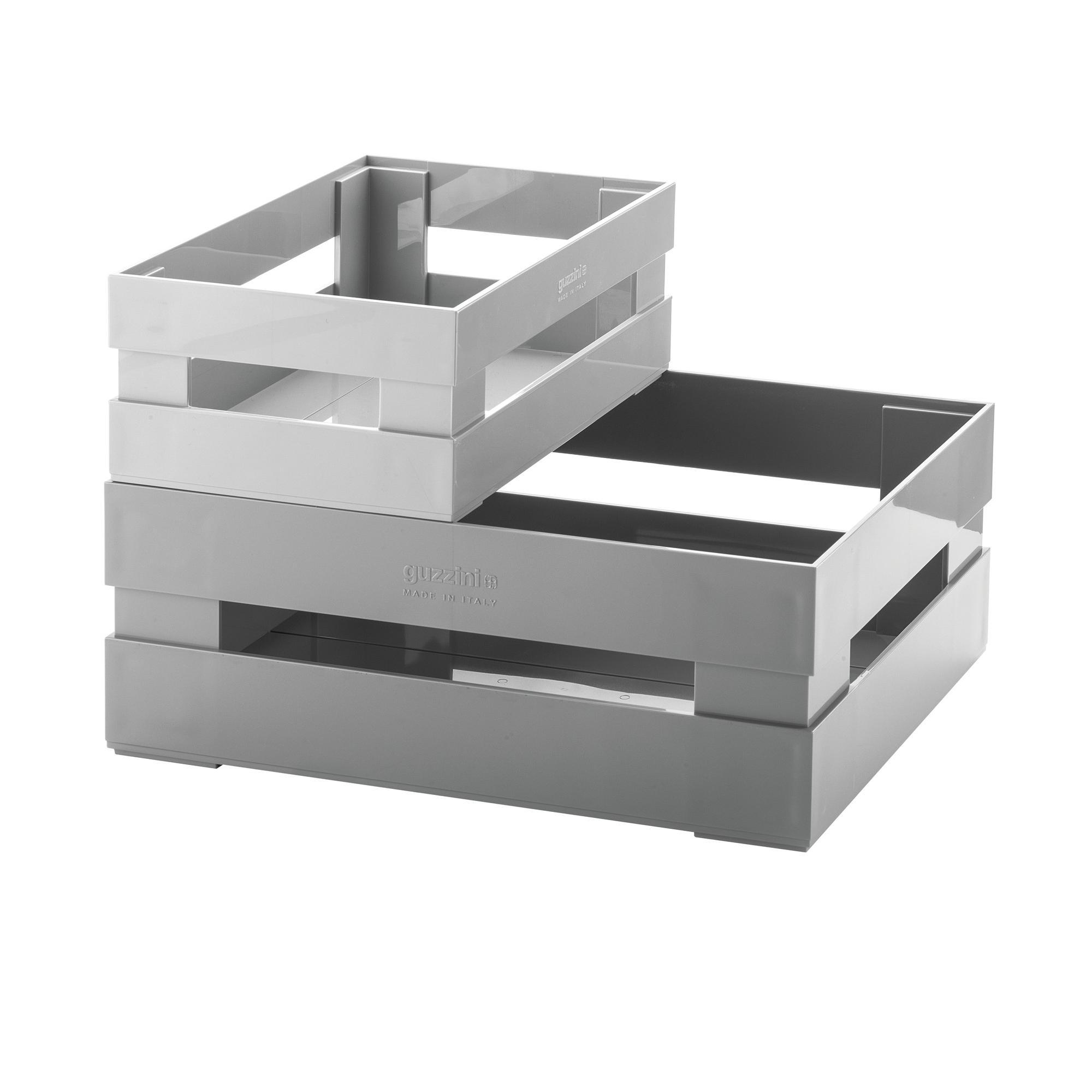Set 2 Cassette Grande e piccola portafrutta , portatutto 30,5x22,5xh19,5 cm impilabile in acrilico grigio