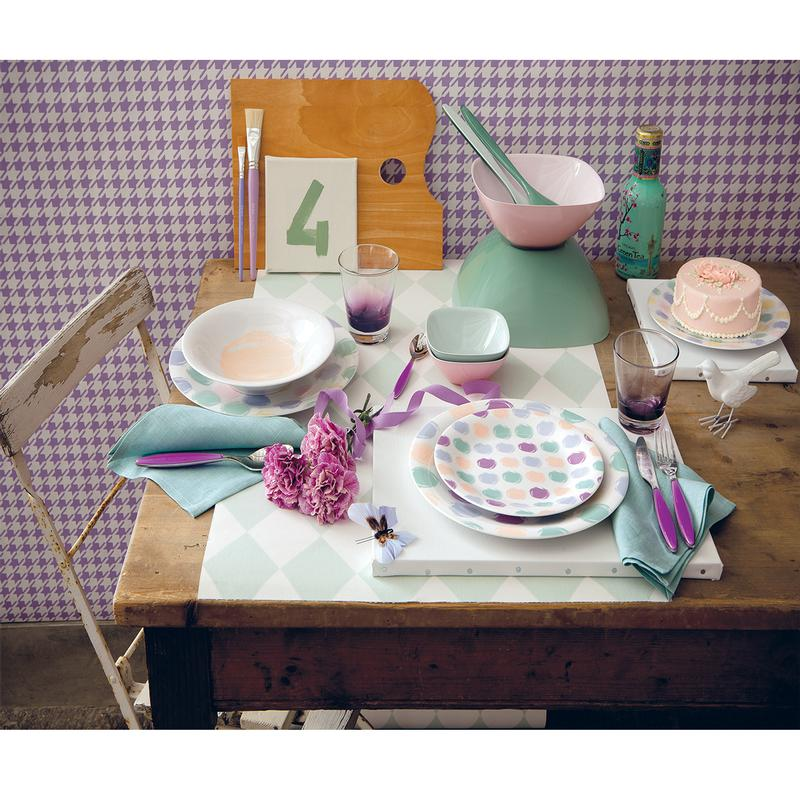 Servizio di piatti set 6 posti tavola romantic pois for Servizio di piatti