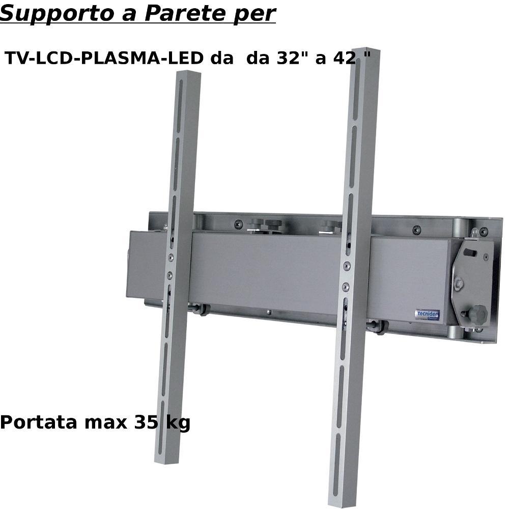 Staffa a Parete in alluminio estensibile fino a 40 cm per schermi da 32 a 42 pollici portata max 35 kg