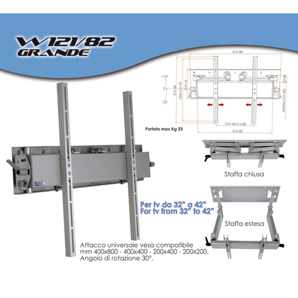 Staffa a parete in alluminio estensibile fino a 40 cm per for Piani per la macchina