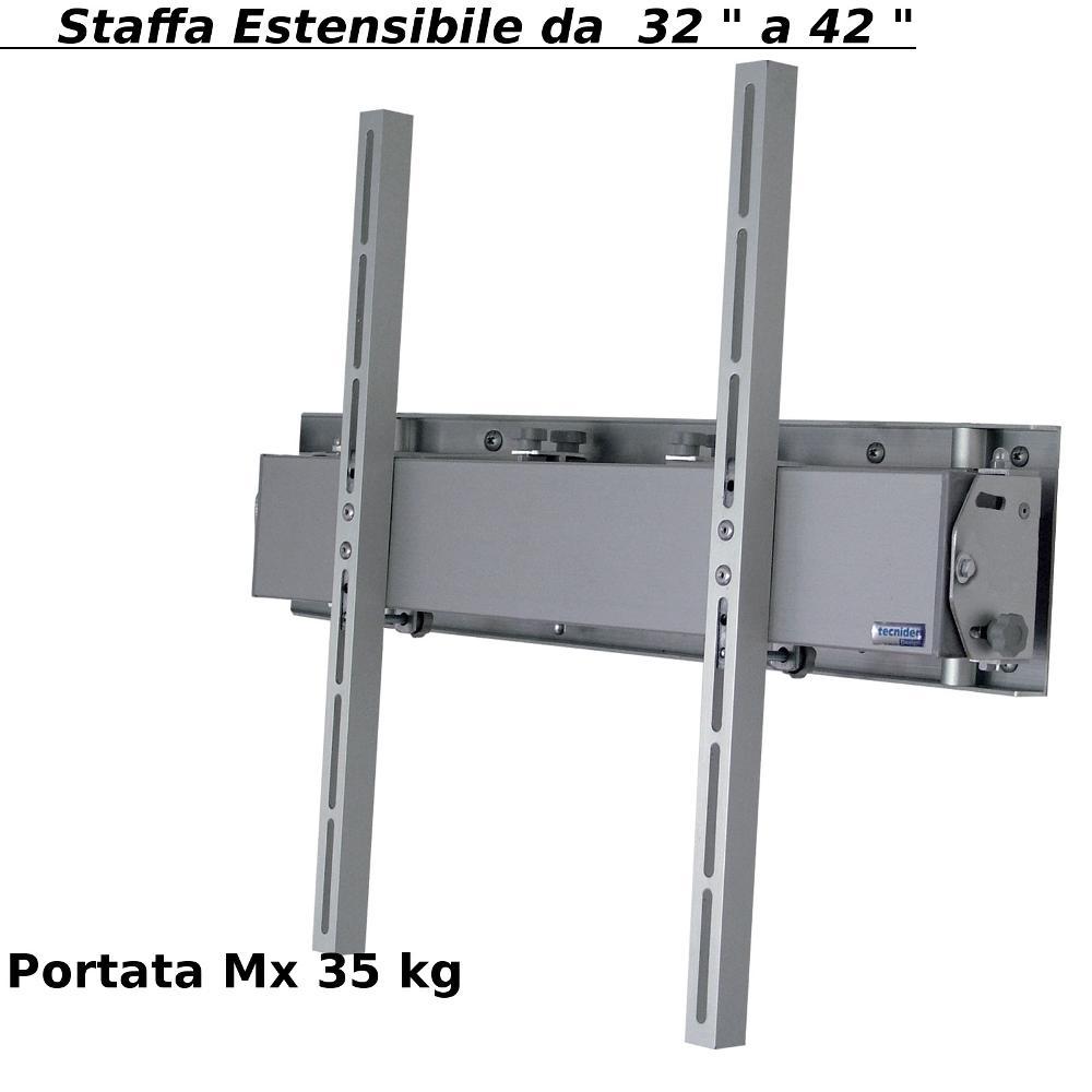 staffa a parete estensibile in alluminio per tv da 32 a 42 pollici