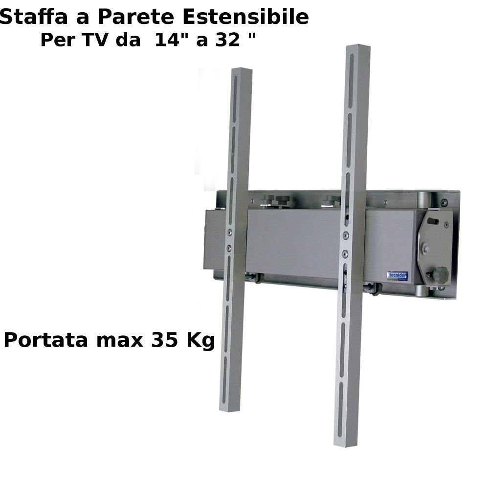 Staffa a parete estensibile fino a 40 cm per TV DA 14 a 42 pollici compatibil...