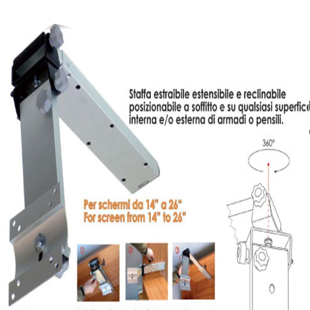 Porta Tv Da Soffitto.Staffa Porta Tv Per Camper O Imbarcazioni W4 In Alluminio A Soffitto Telescopica Regolabile E Reclinabile Per Tv Lcd Led Da 14 Tecnidea