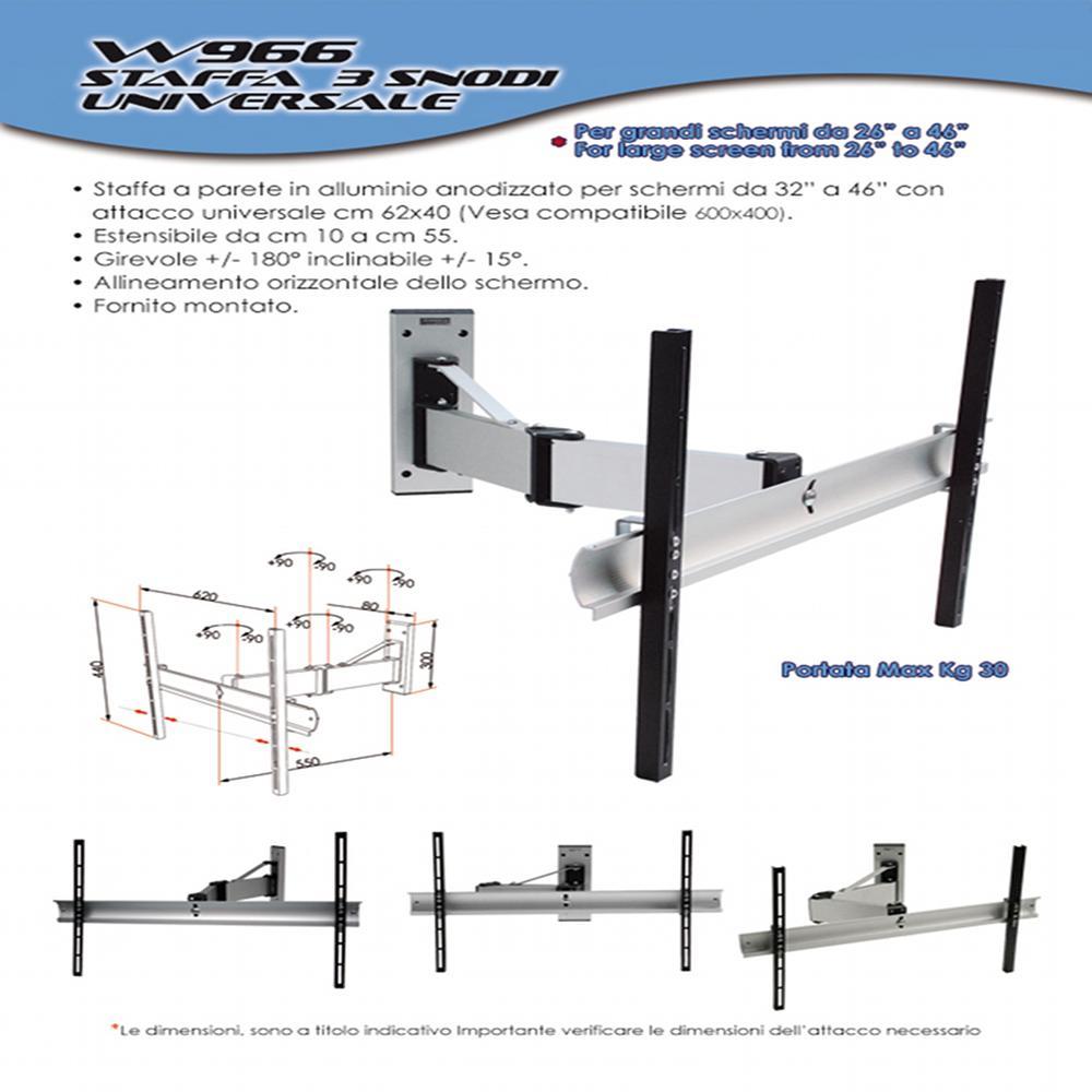 Staffa a parete Per TV LCD 3 snodi Universale per TV DA 26 ...