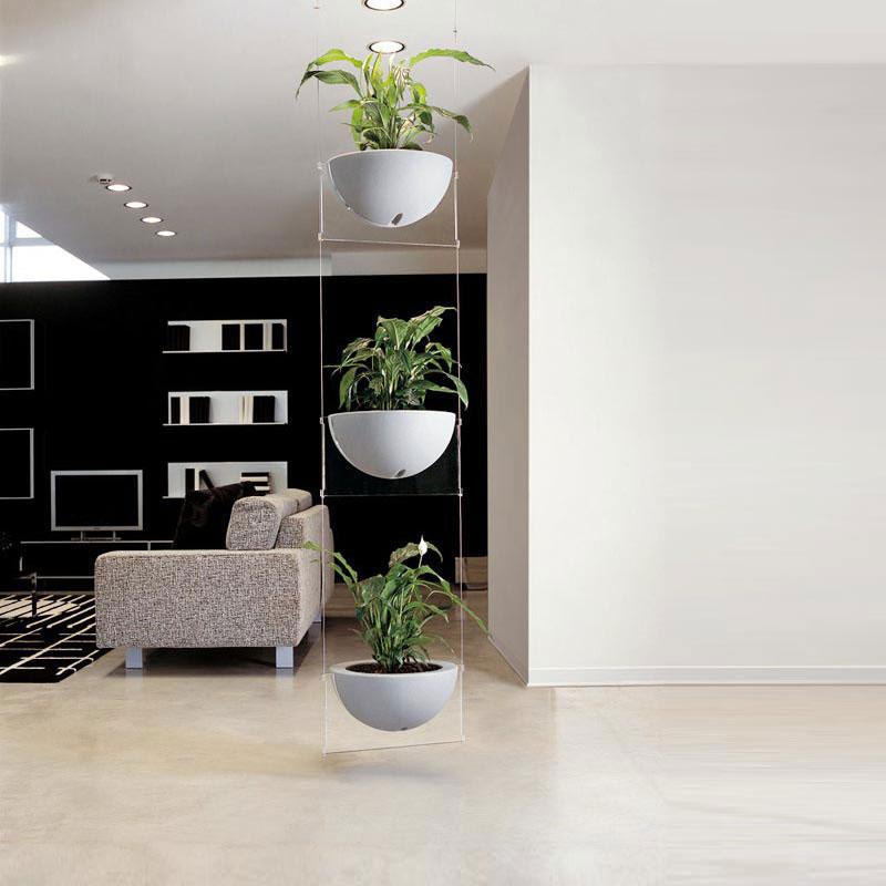 fioriera sospesa 48x40xh25 ogni vaso cm tre vasi in policarbonato fissaggio a soffitto fino a h