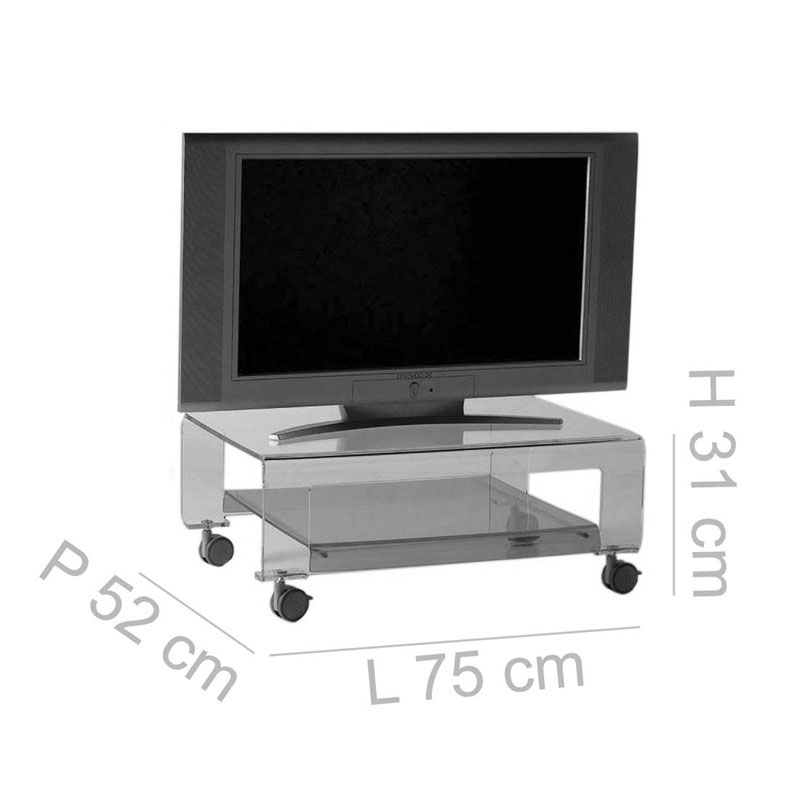 ... Tavolino Porta TV Con Ruote 75x52xh31 Cm VERVE Struttura In Metacrilato  Trasparente E Dettagli In Metallo ...