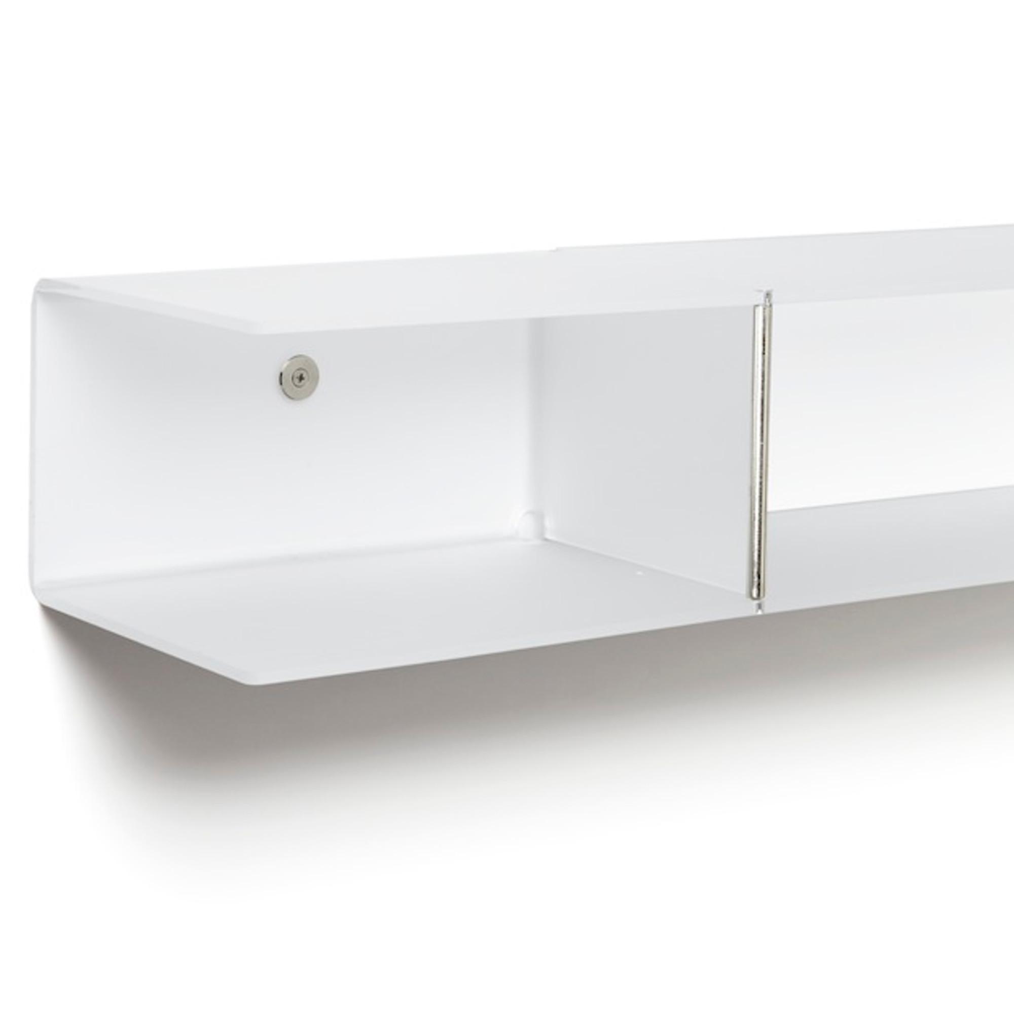 Mensole Da Parete Cucina mensola da parete 100x20xh16 cm bi-mensola pensile in metacrilato portata  max: 15 kg bianco satinato | emporium