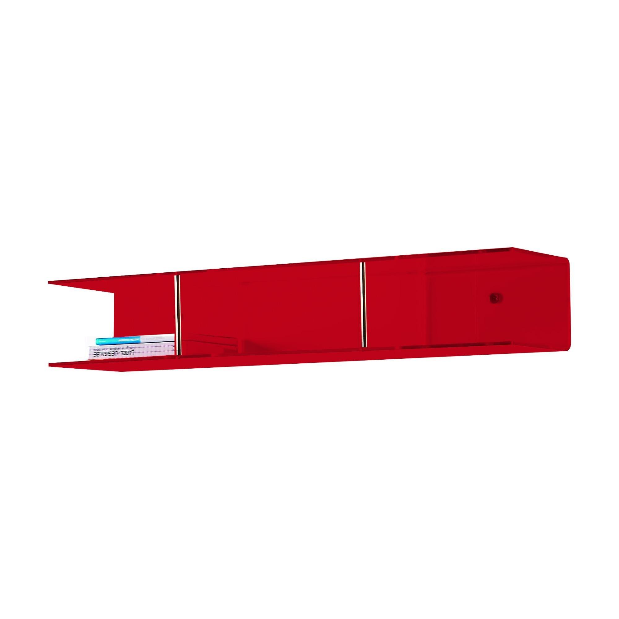 Mensola da parete 100x20Xh16 cm Bi Mensola pensile in metacrilato Portata max: 15 kg Rosso Trasparente