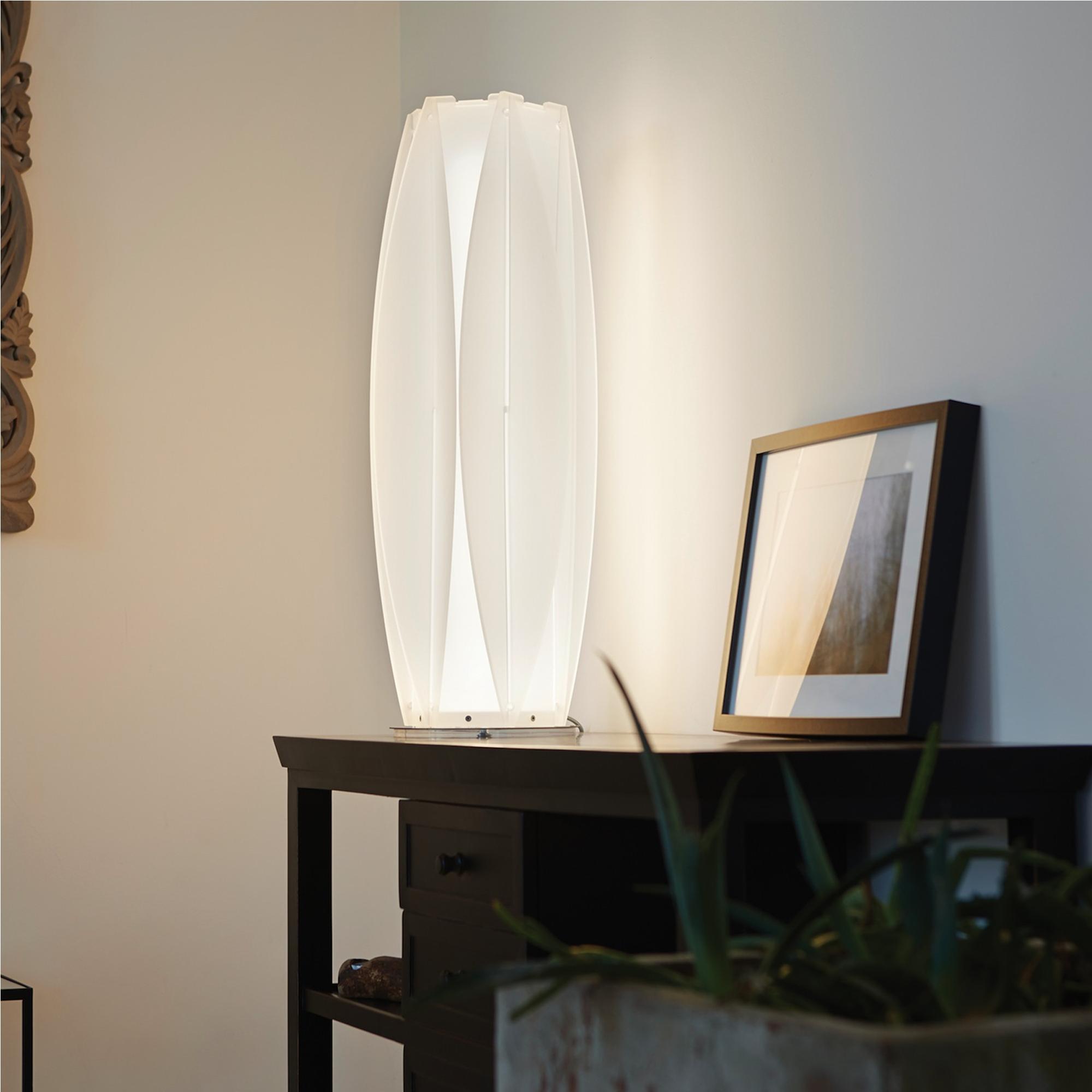 Lampada da tavolo 23xh76 cm kira small con lampada in pmma cristopal base inox emporium - Base lampada da tavolo ...