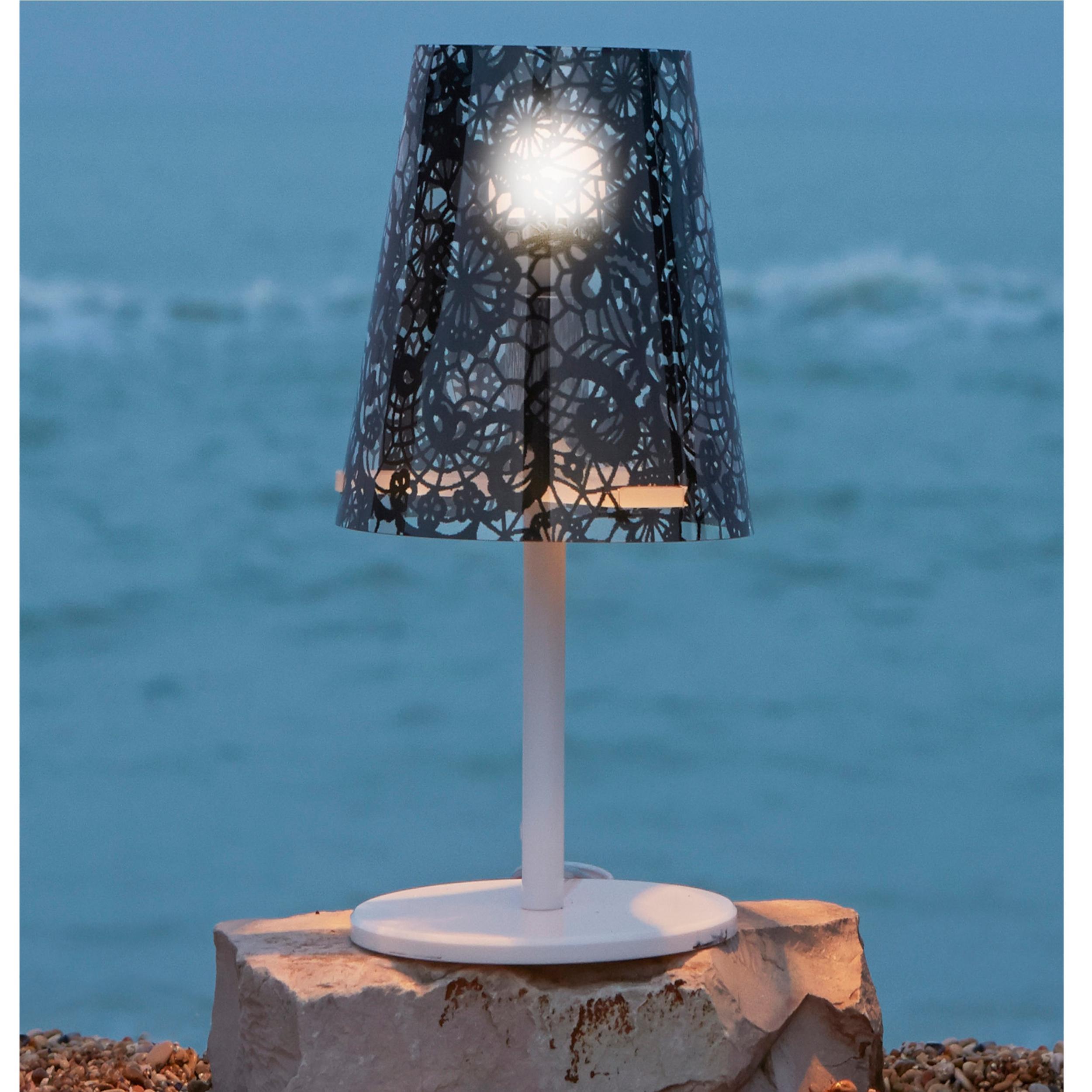 Lampada da tavolo con paralume PIXI PIZZO 30xh56 cm con paralume in policarbonato decorato texture pizzo nero   Emporium