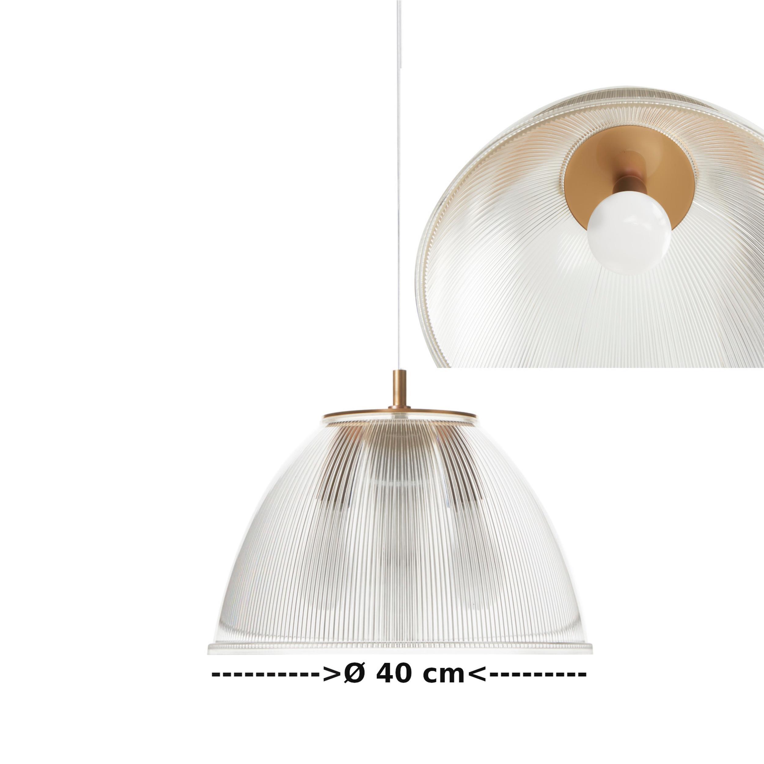Lampada a sospensione ISABEL Ø40xh31 cm 1 x70W max E 27 HGS con calotta prismatica e particolari In PMMA