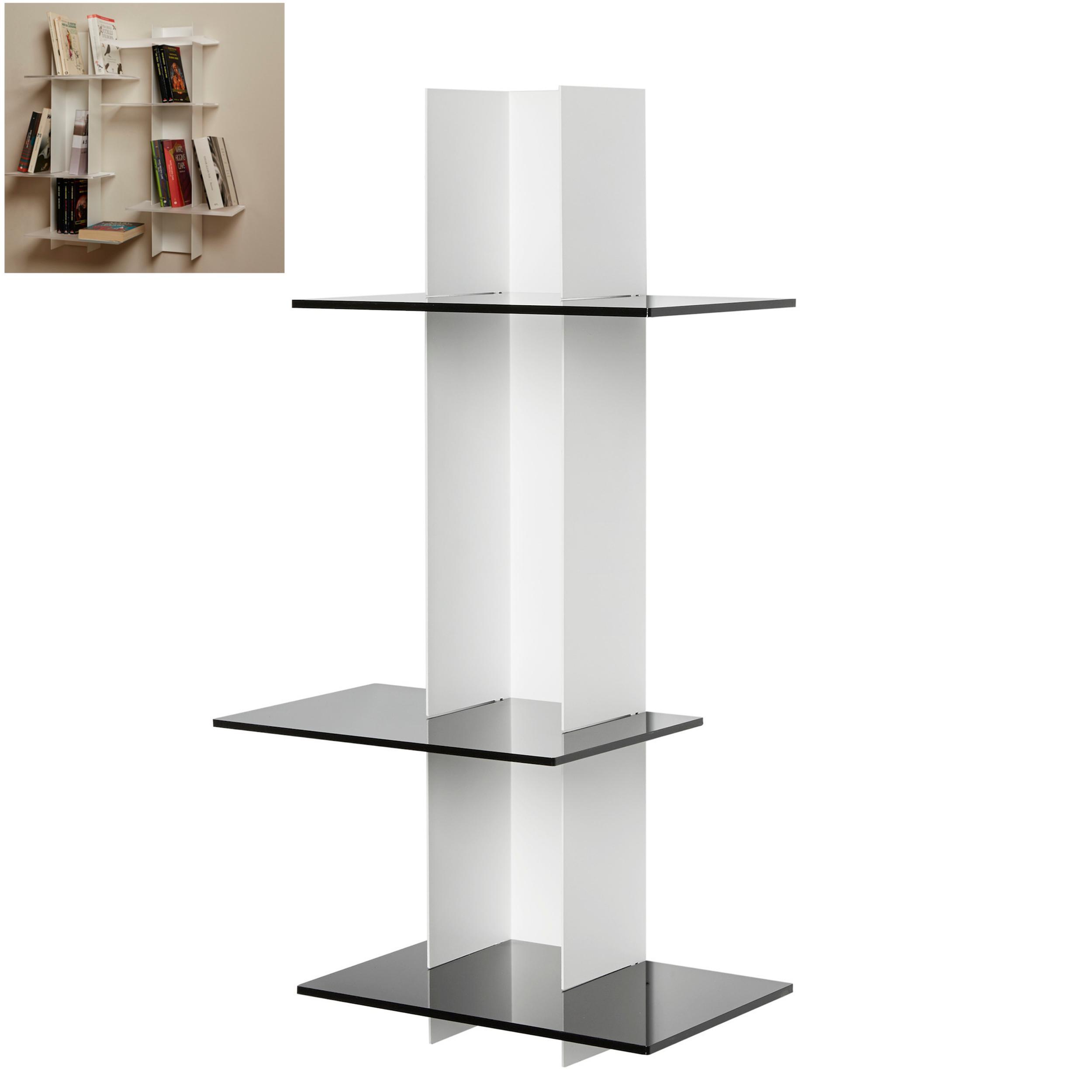 Libreria da Parete verticale Fissaggio a parete ELIB 39x23xh 70 cm con struttura in metallo verniciato bi