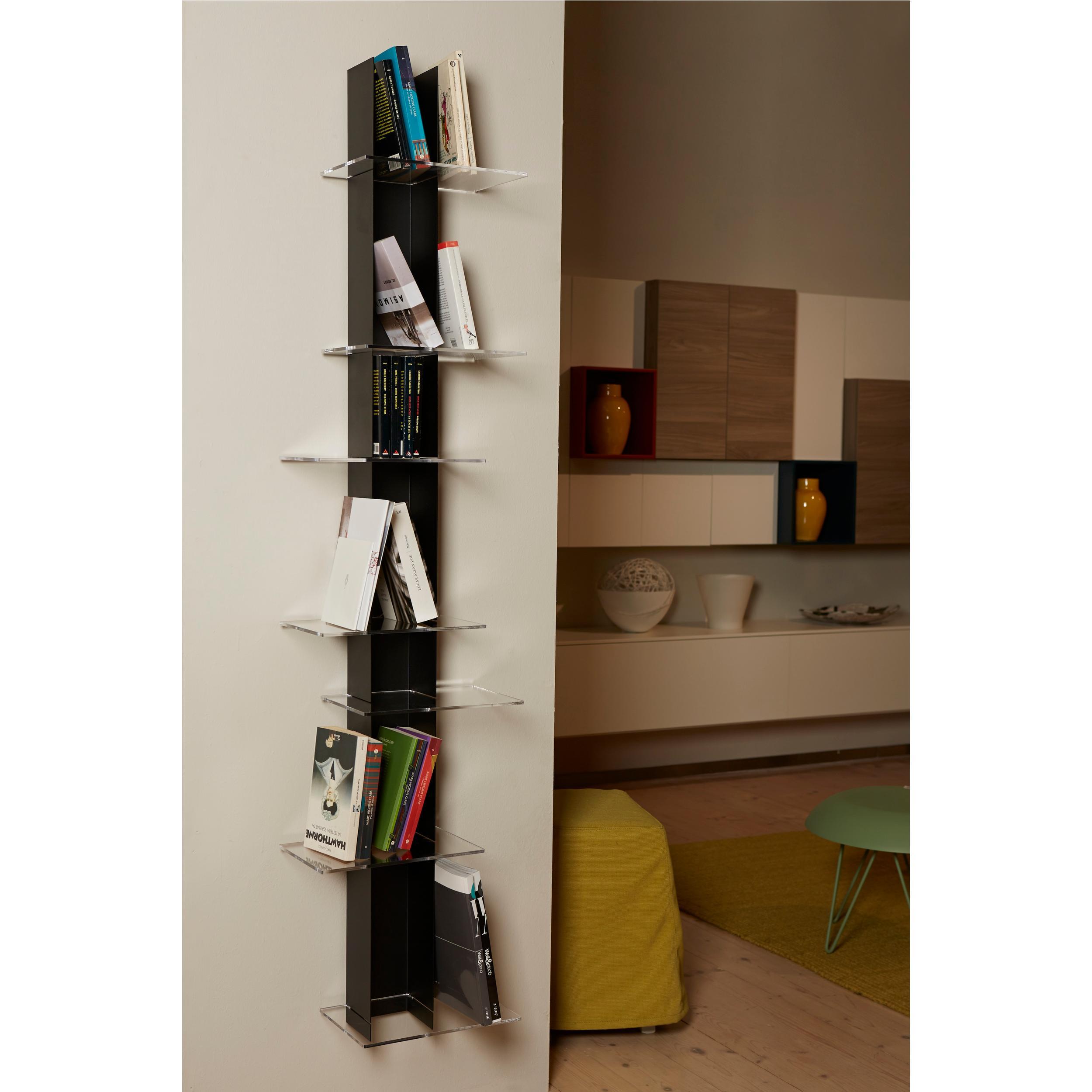 Libreria Verticale In Metallo.Libreria Da Parete Verticale Fissaggio A Parete Elib 39x23xh 170