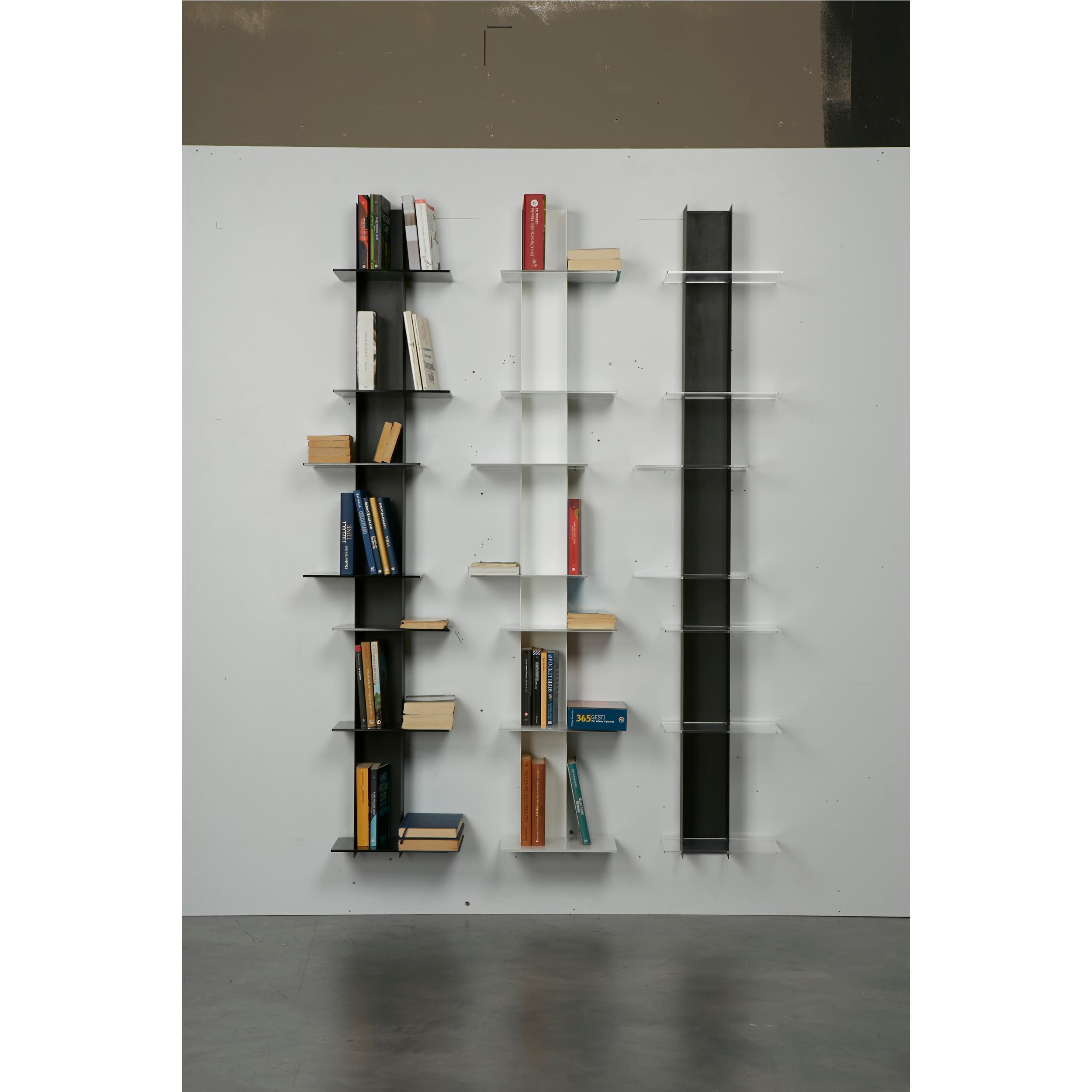 Libreria Verticale In Metallo.Libreria Da Parete Verticale Fissaggio A Parete Elib7 39x23xh 170