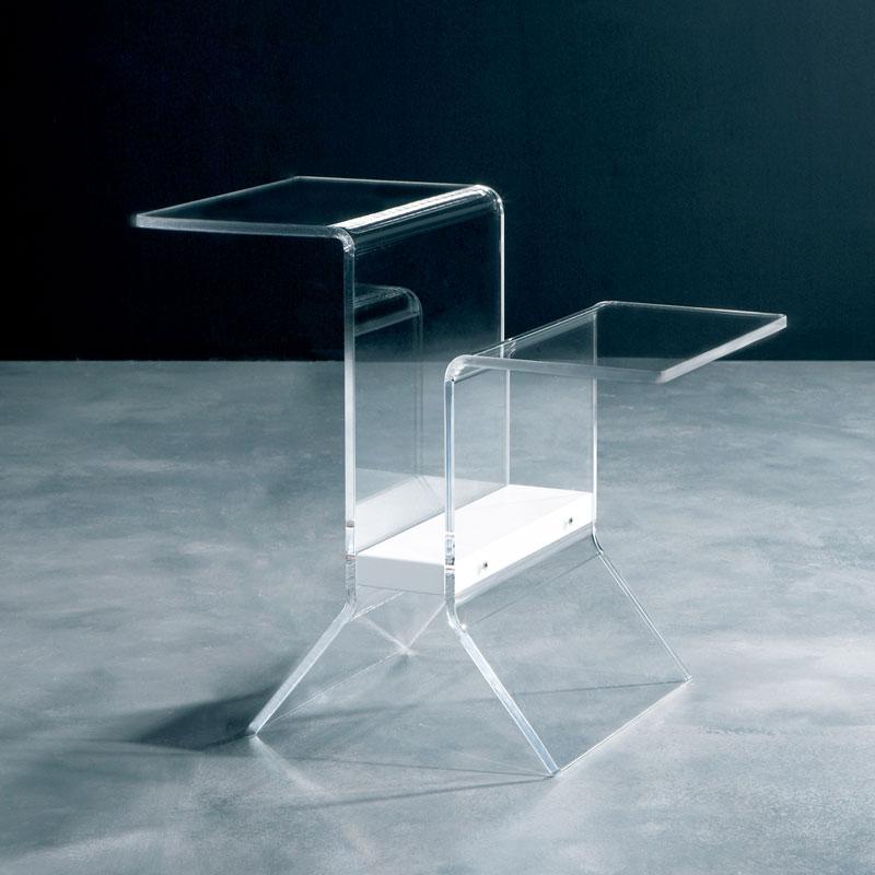 Tavolino Portariviste Legno.Tavolino Multifunzione 53x33xh48cm Ideo In Metacrilato Trasparente Particolare In Legno Colore Bianco Emporium