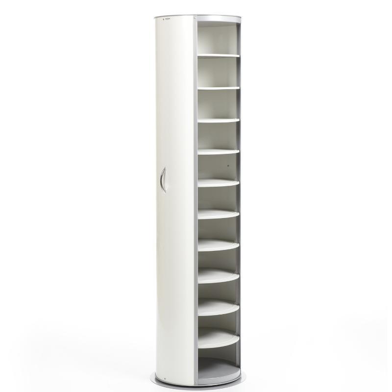 Scarpiera In Metallo Bianco laccato Lucido 40x40xh173 cm MetalPop 10 Ripiani estraibili peso 17 kg | Emporium