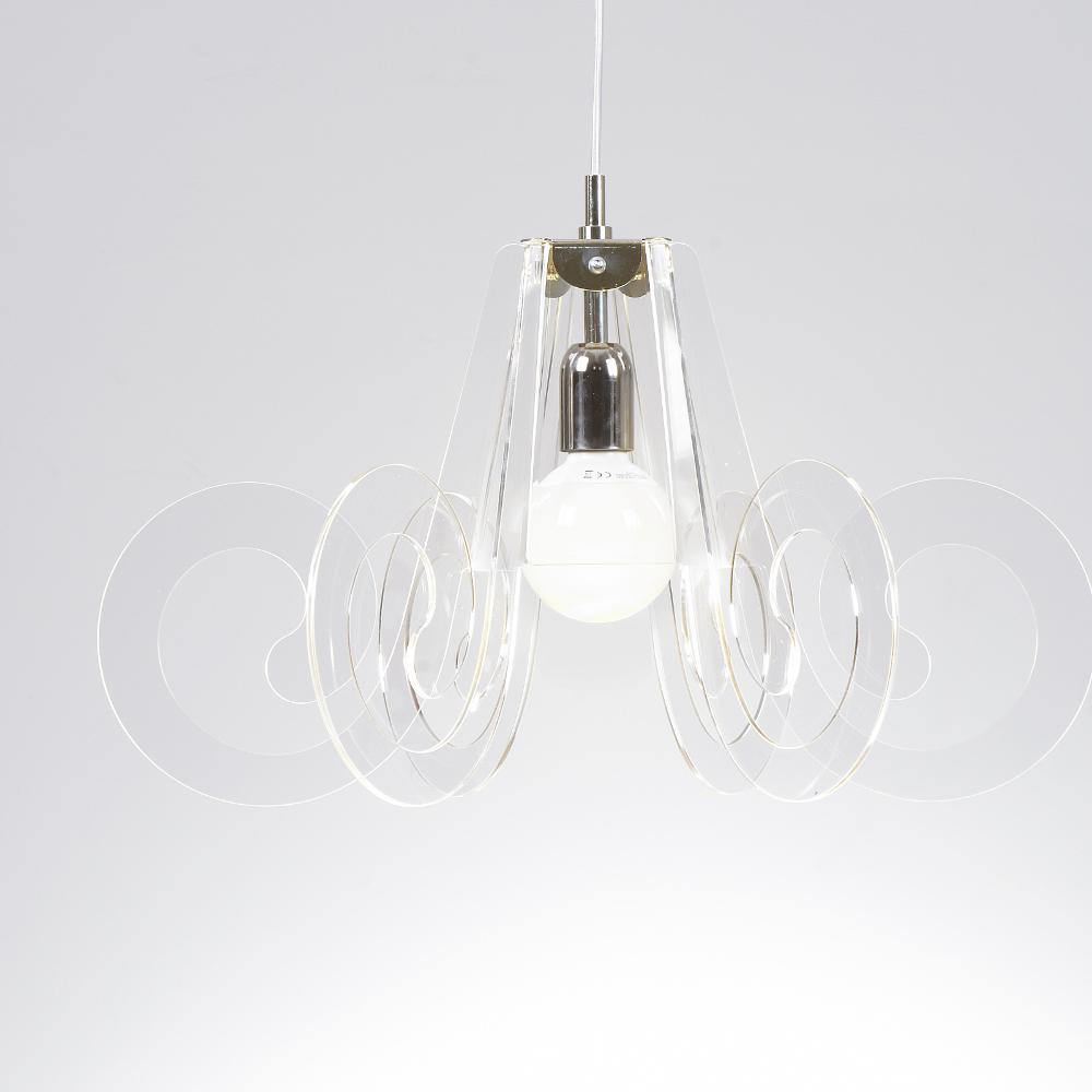Lampada a sospensione RICCIOLO Ø75xh43 cm da soffitto con 5 riccioli in metacrilato Colore Trasparente