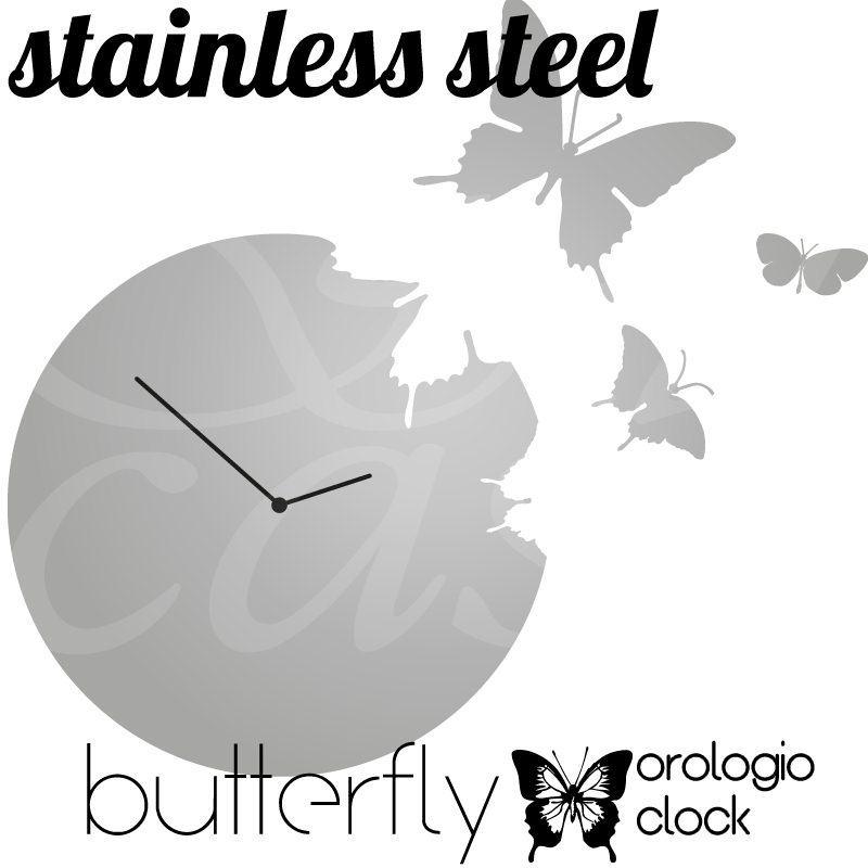 orologio da muro butterfly rotondo diametro 48 in acciaio