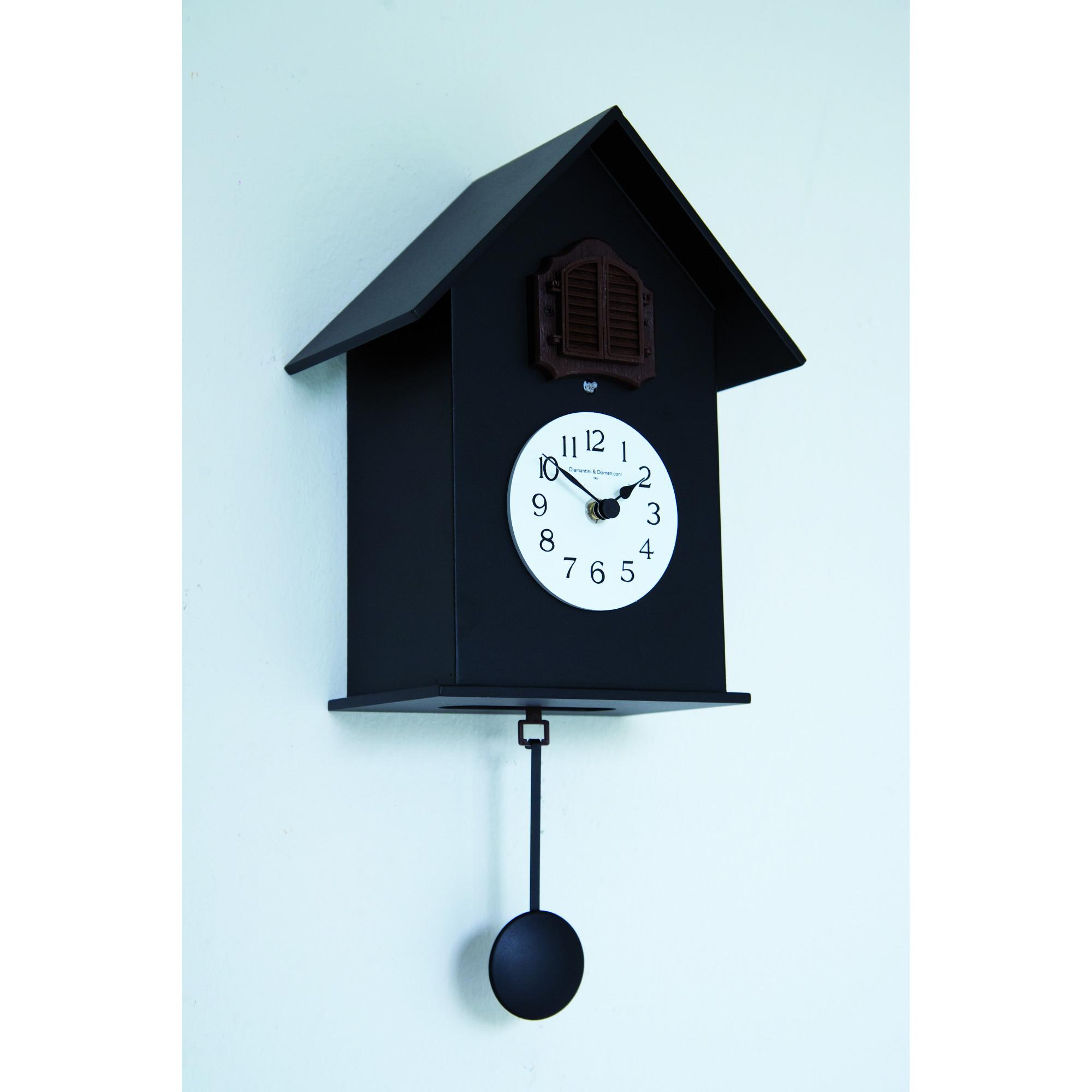 Orologio cucu da muro in legno 18x15xh38cm con cassa in legno laccato colore nero diamantini e - Orologi a cucu design ...