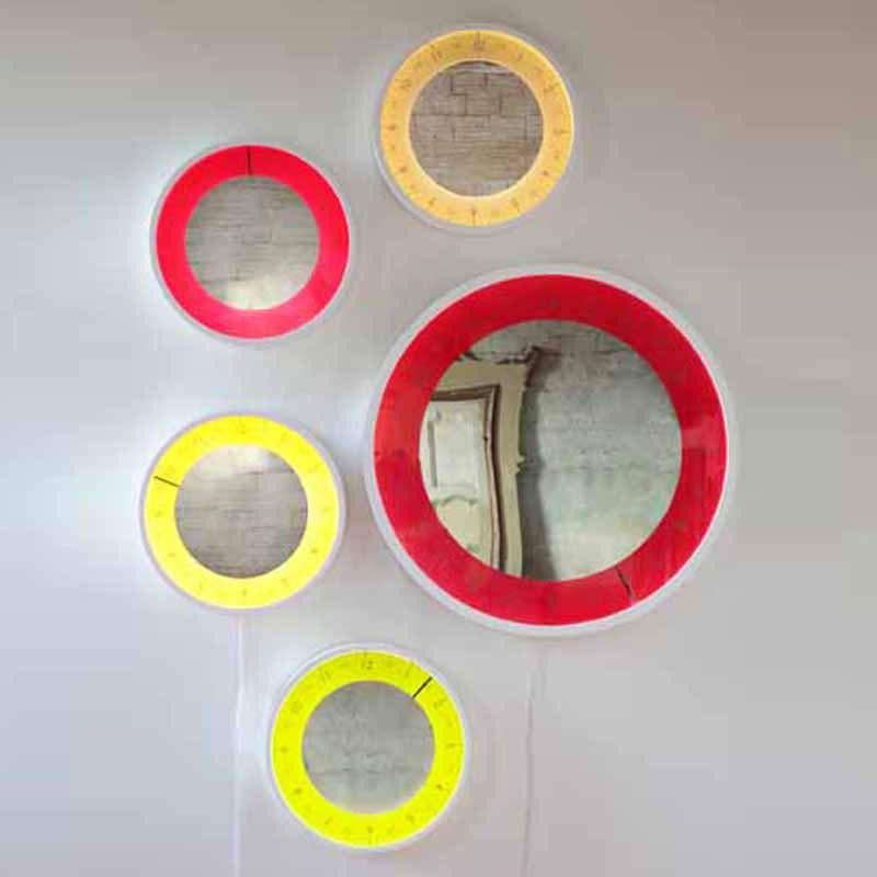 Orologio Solo ora piccolo diametro 50 Orologio specchio lampada per rimirarsi in un alone di luce colorat