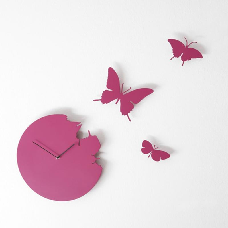 Orologio da parete Butterfly diametro 40 rotondo Colore FUCSIA cassa ...