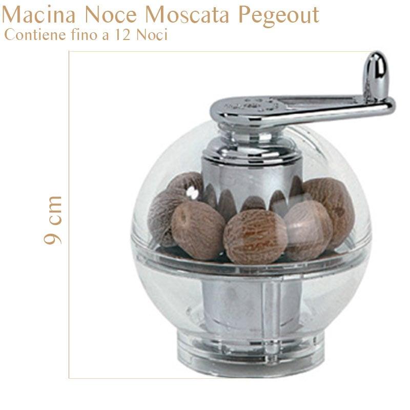 Macina Noce Moscata cromato Peugeot ternate 9.5x9.5x11 cm in acciaio inox Grazie al suo design sferico ma