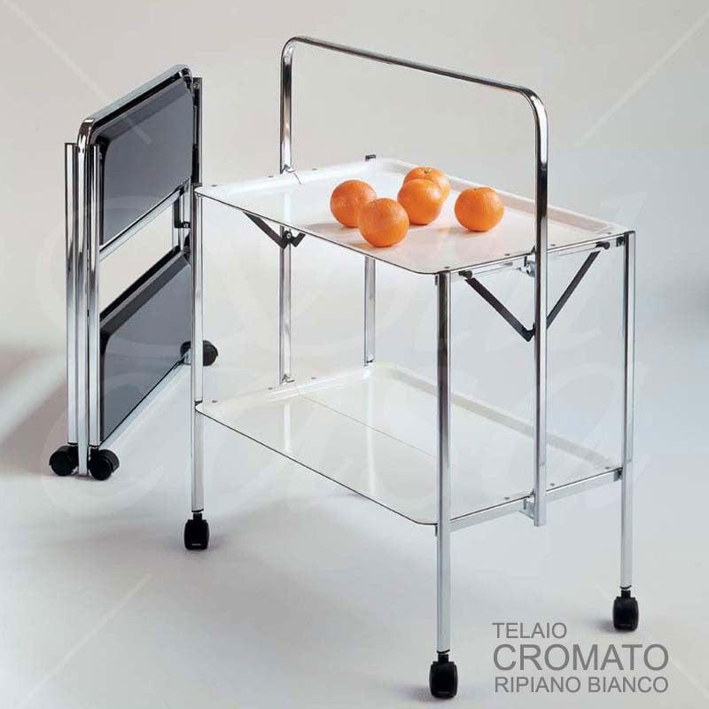 Carrello portavivande richiudibile in soli 6 cm select 64x42xh82cm struttura bianco vassoi in - Carrello portavivande pieghevole ...