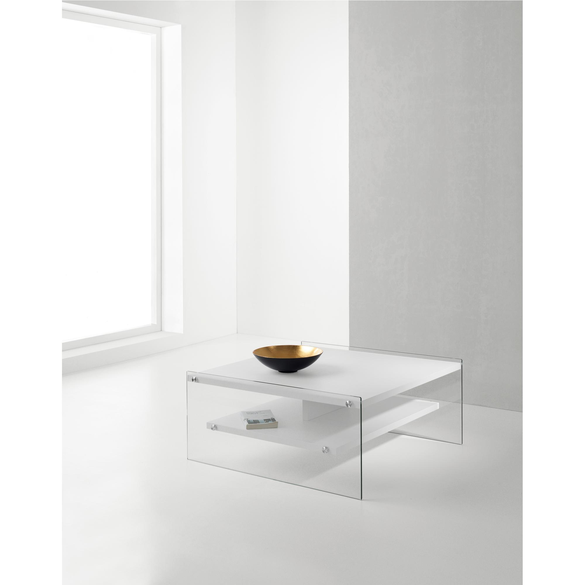 Tavolino Due Ripiani.Tavolino Con Due Ripiani In Laminato Maxim 80x80xh35cm Fianchi In Vetro Pezzani Srl
