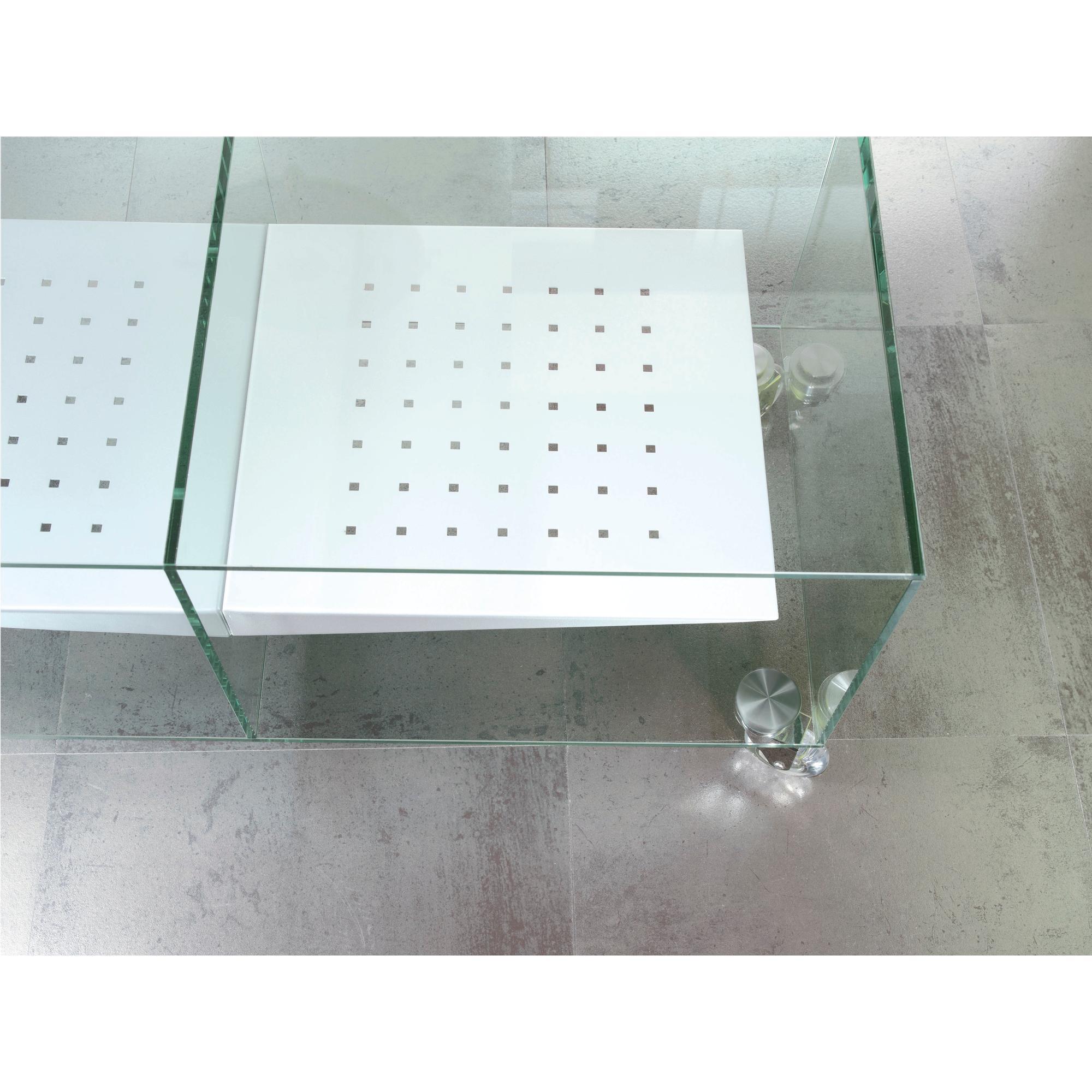 Porta tv in vetro trasparente temperato con ruote - Porta tv con ruote ...
