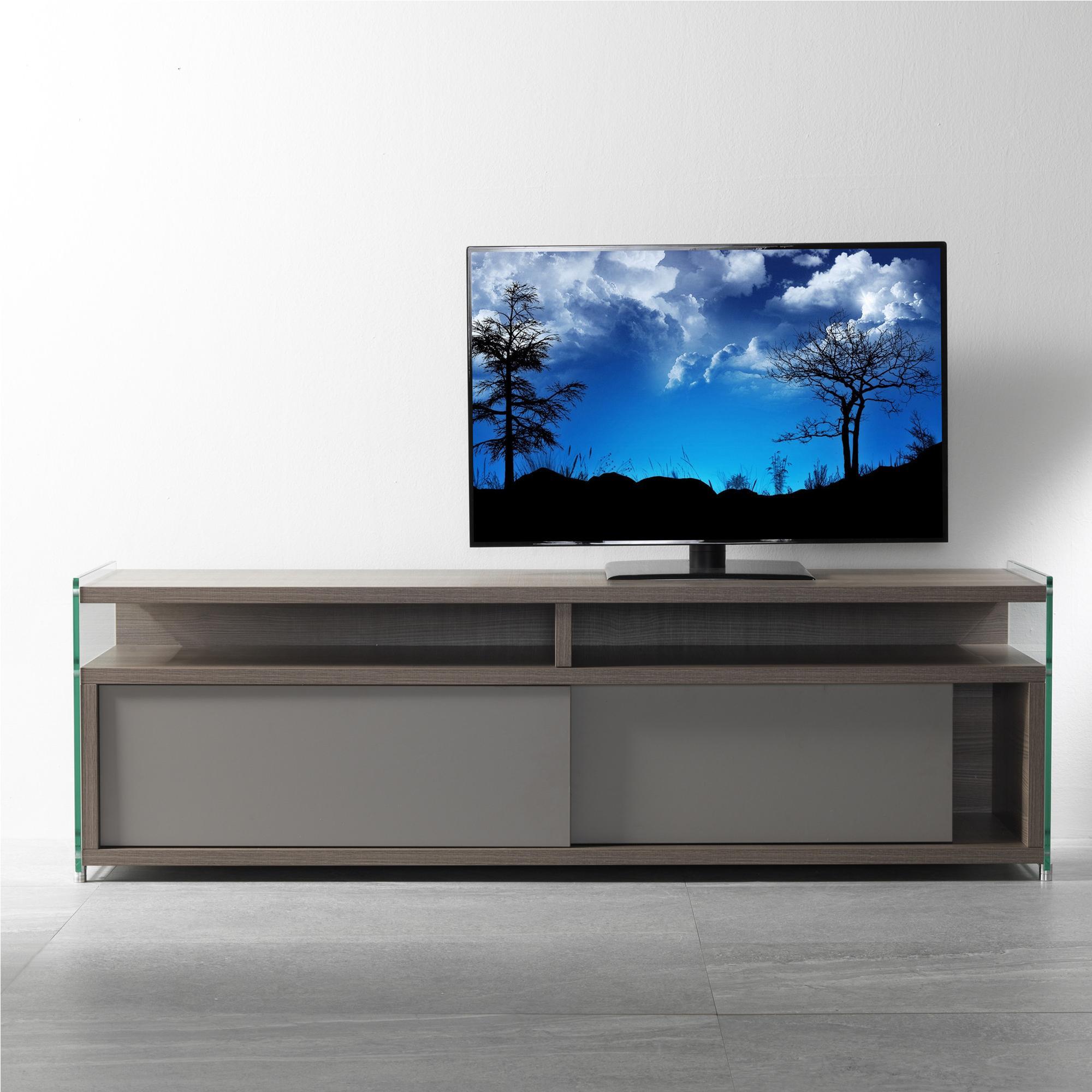 Carrelli Porta Tv Lcd.Mobile Porta Tv Aperto In Legno 140x39x48h Cm Colore Olmo Tranche Fianchi In Vetro Trasparente