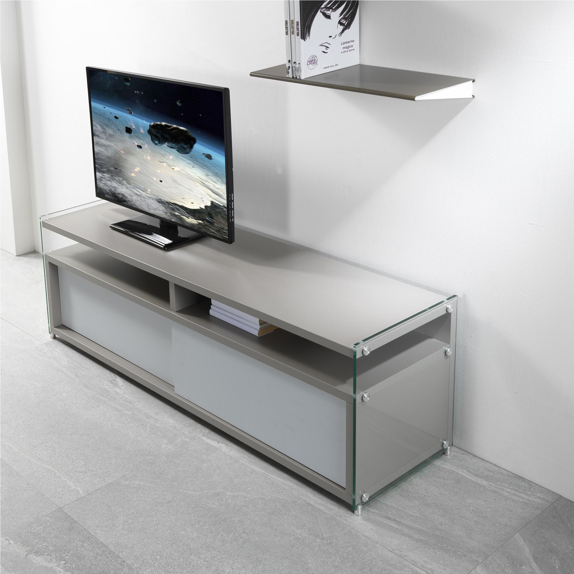 Mobile Porta Tv Grigio.Mobile Porta Tv Aperto In Legno 140x39x48h Cm Colore Grigio Cenere Fianchi In Vetro Trasparente Pezzani Srl