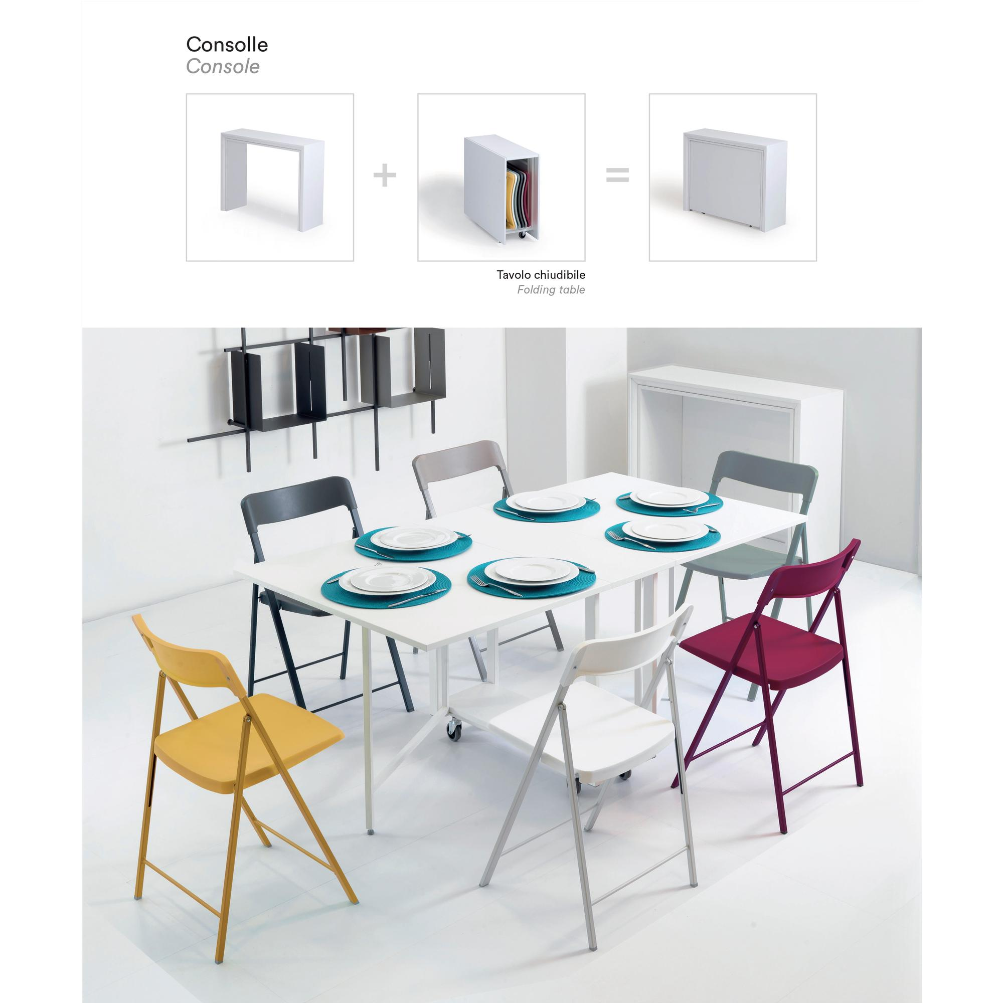 Consolle, più tavolo Archimede chiudibile con 6 sedie first, apribile anche a metà | Pezzani srl