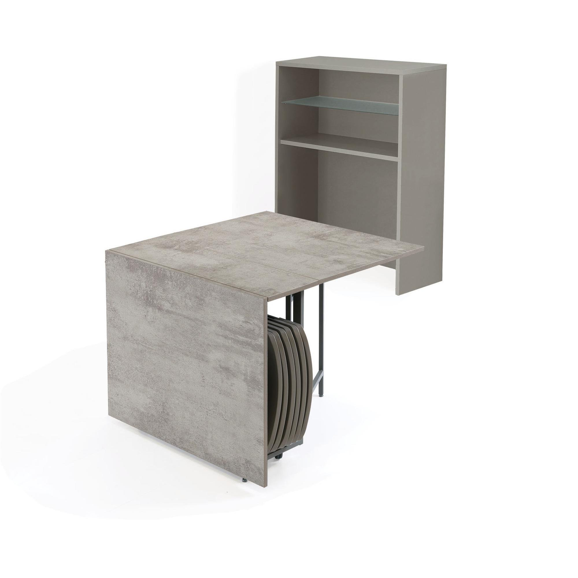 Libreria 96x37,5xh125 cm con tavolo chiudibile e sei sedie ZETA O FIRST chiudibili | Pezzani srl