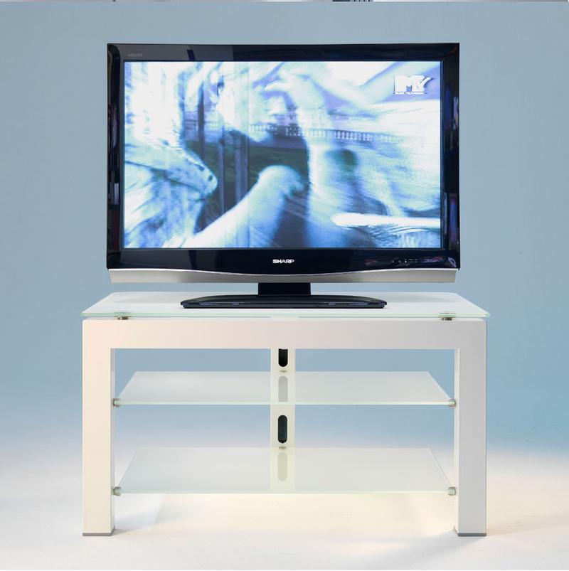Porta TV a 3 Piani Metallo Bianco ripiani in vetro satinato con colonna  posteriore passacavi | Pezzani srl