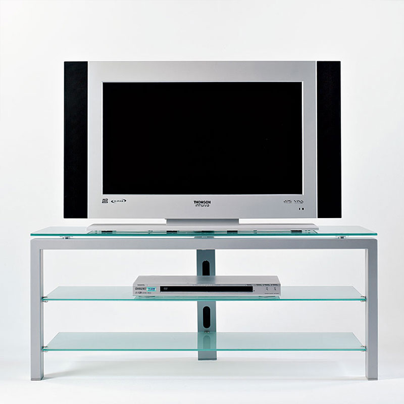 Carrello Porta Tv Flat A 3 Piani Alluminio In Vetro Satinato Temperato E Colonna Posteriorre