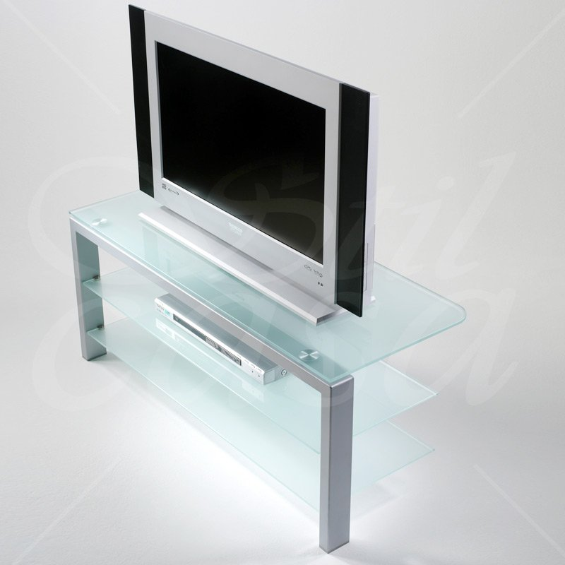 Carrello Porta TV FLAT a 3 piani Alluminio in vetro satinato ...
