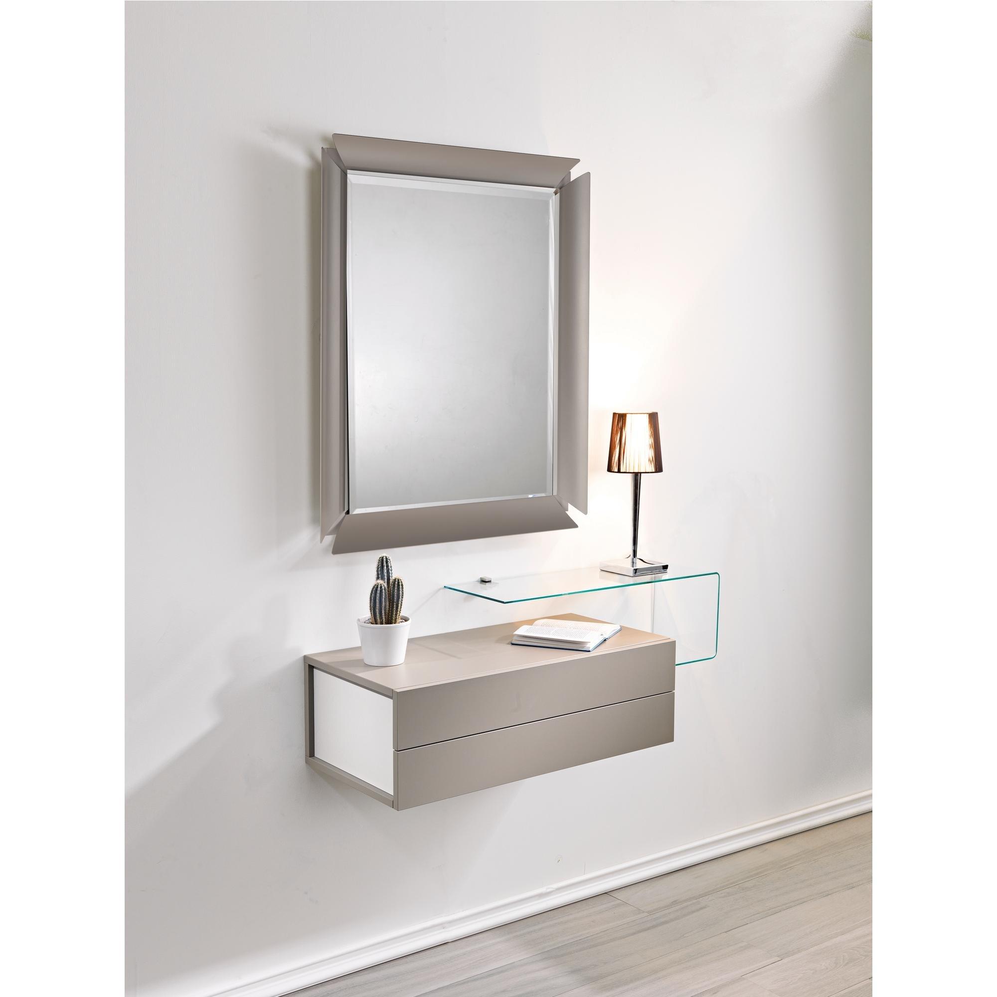Contenitore modulare per ingresso, zona notte, comp 1 due, specchio mensola cassettiera, contenitore