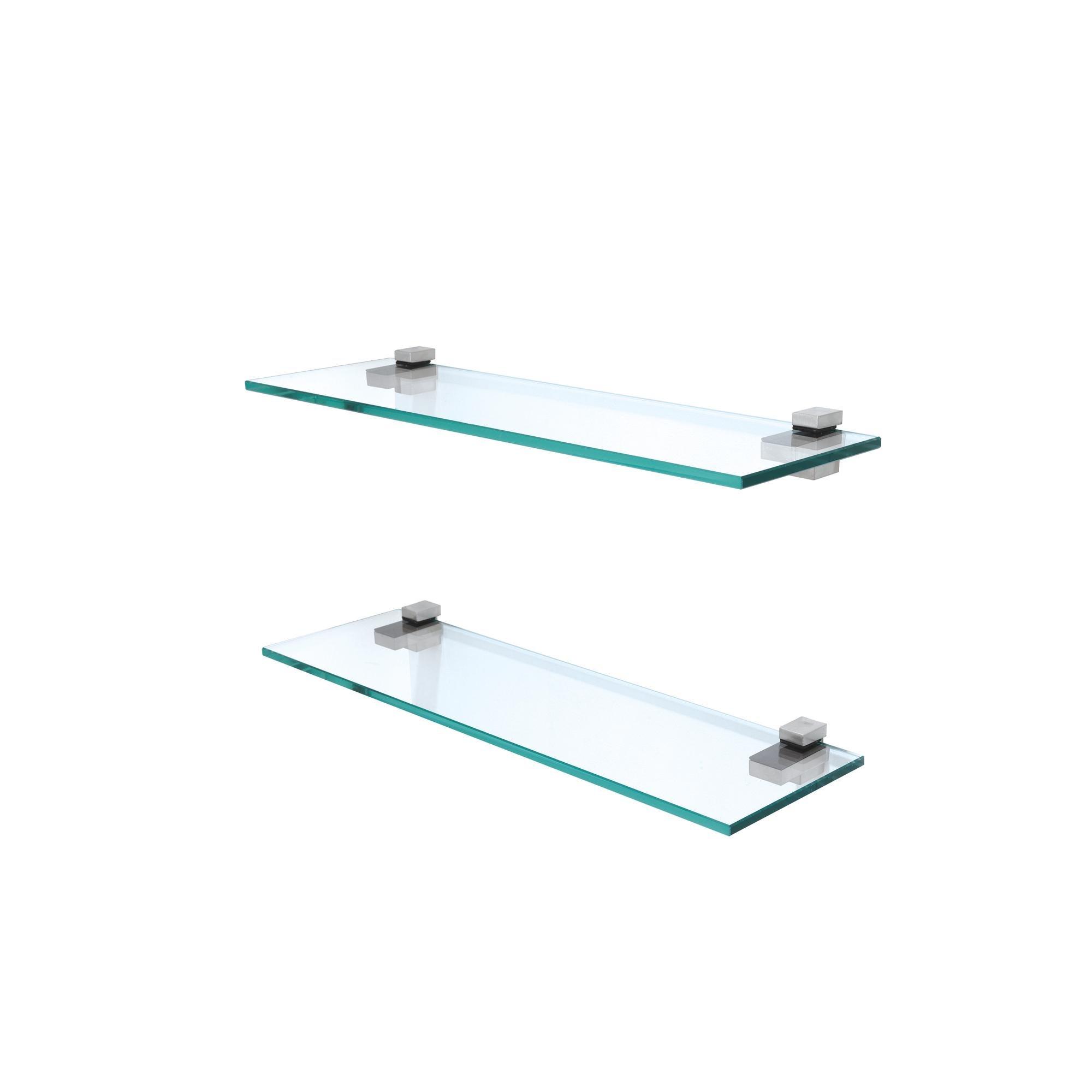 Mensola in vetro trasparente temperato ANGOLO rettangolo 50cm