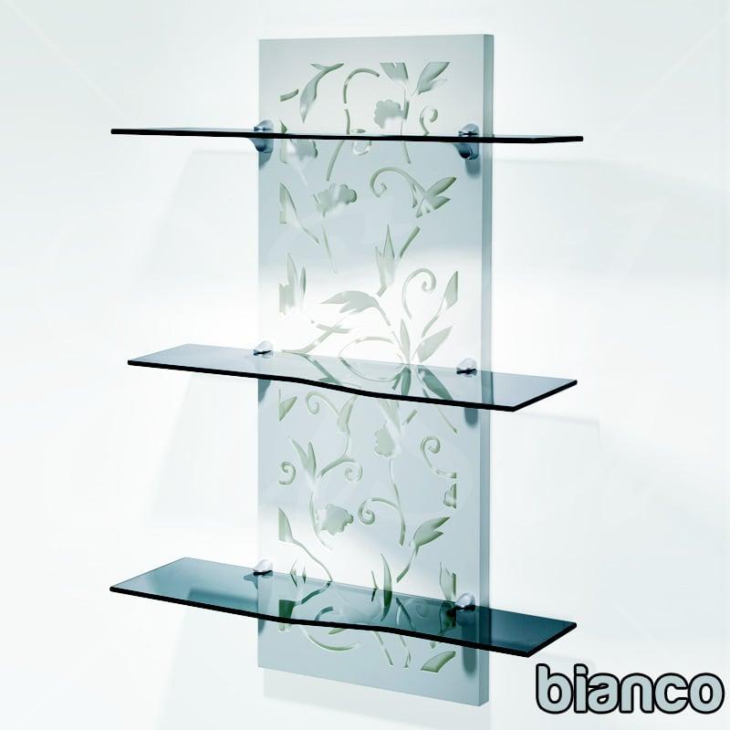 mensola a tre piani in vetro temprato piani deko fiori
